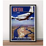 Mxibun Póster De Viaje De Aviación Vintage Pan-Am A Nueva York Pinturas Clásicas En Lienzo Pared Vintage Decoración Del Hogar Regalo-16X24 Pulgadas Sin Marco