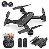Zuhafa Drone T4 WiFi FPV RC with 1080P HD Camera for Kids and Adults, for Beginners-Altitude Hold Mode, RTF One Key Take Off/Landing, Gesture Control,APP Control,Double Camera(2Pcs Batteries)