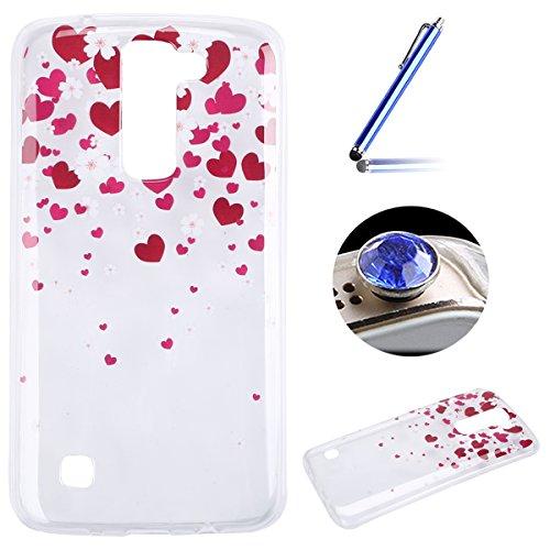 LG K7 Coque, Etsue pour LG K7 Vogue Gel Housse étui de téléphone mobile ,TPU Silicone Matériau Transparente Ultra Mince Supérieur Semi Transparent Doux Coque [Coeur d'amour] Motif pour LG K7 + Gratuit 1 x Bleu stylet + 1 x Bling poussière plug (couleurs aléatoires)