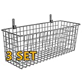 3 Set [Extra Large] Hanging Wall Basket for Storage, Wall Mount Sturdy Steel Wire Baskets, Metal Hang Cabinet Bin Wall Shelves, Rustic Farmhouse Decor, Kitchen Bathroom Organizer, Industrial Gray