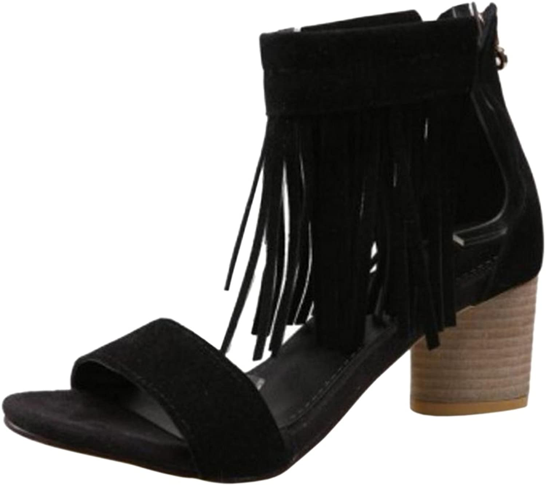 TAOFFEN Women Block Heel Sandals Tassels