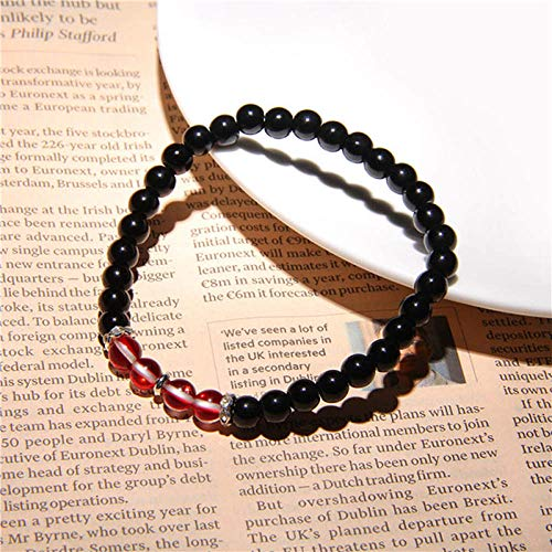 ZMMZYY Stone Bracelet, Mode Rotwein Kristall Armbänder Schwarz Onyx Stein Perlen Frauen Männer Schmuck Strand Glück Energie für Verliebte Geschenke 19 cm