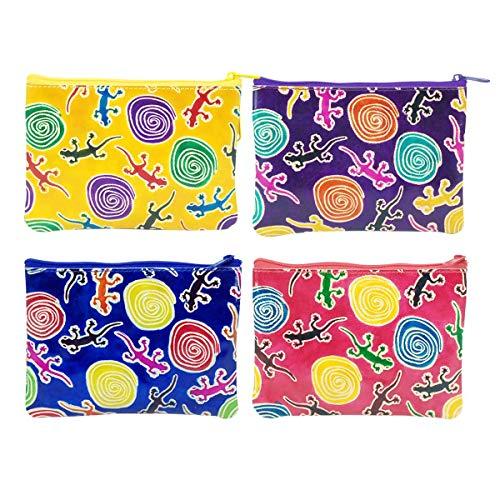 Set de 4 Monederos de Piel Lagartos Multicolores Colores Surtidos. Carteras y Neceseres .Belleza y Textil. Regalos Originales. Detalles para Cumpleaños y Bodas. Navidad y Reyes. 14,50 x 2 x 11 cm.