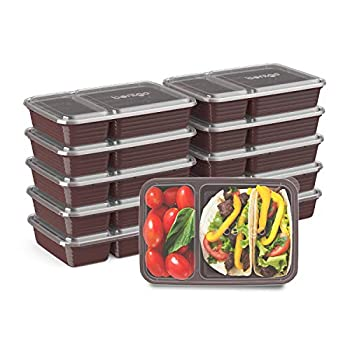 Bentgo Prep 2-Compartment Meal-Prep Containers with Custom-Fit Lids - Microwaveable Durable Reusable BPA-Free Freezer and Dishwasher Safe Food Storage Containers - 10 Trays & 10 Lids  Burgundy