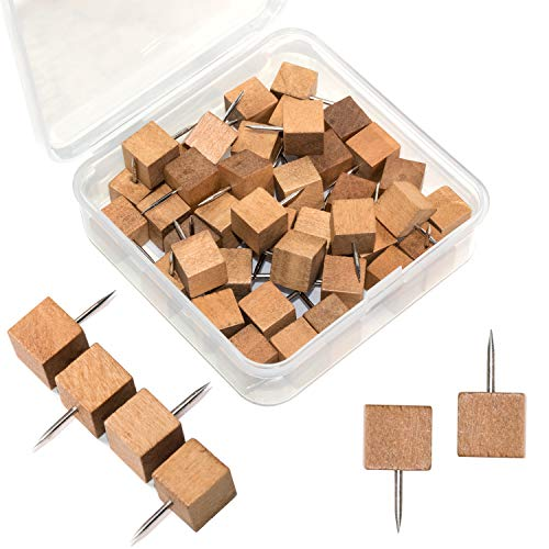 Went Decorative Wooden Push Pins, Walnut, Wood Square Head with Steel Needle Point Thumb Tacks for Documents, Photos, Maps, and Bulletin Boards (40 PCS)