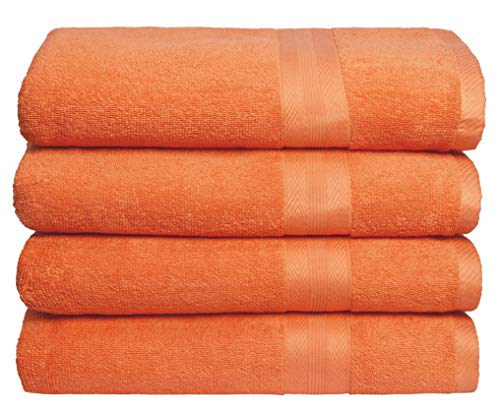 BOUTIQUO Premium Cotton 4 Pack Bath Towel Set  100% Pure Cotton  4 Bath Towels 27x54  Ideal for Everyday use  Ultra Soft amp Highly Absorbent  Orange