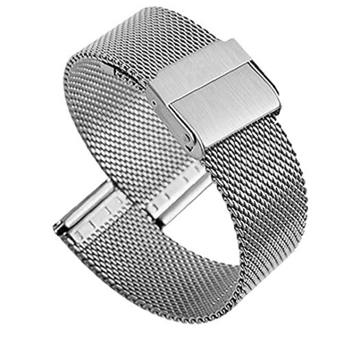 FeelMeet Correas de Reloj de Acero Inoxidable Reloj Milanese Banda de Metal Ultra-Delgada Pulsera de liberación rápida para Mujeres de los Hombres de Plata de 20 mm