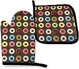 N\A Colorido Macarons Donuts Kitchen Oven Mitt Pot Holder Set, Soportes de Guantes Antideslizantes Resistentes al Calor para Barbacoa, cocinar, Hornear, Asar, microondas