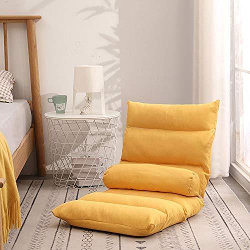 LMDC Respaldo Alto Silla Sala de Juego, Lazy Sofá Sofá Cama, Suavemente Acolchado, fácilmente Plegable for Adolescentes Adultos (Color : Yellow)