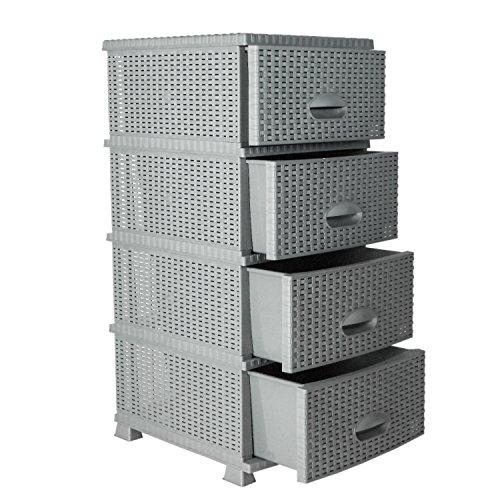 MyShop24h commode in rotan-look plank met schuifladen kunststof rotan meubels 4-er grijs