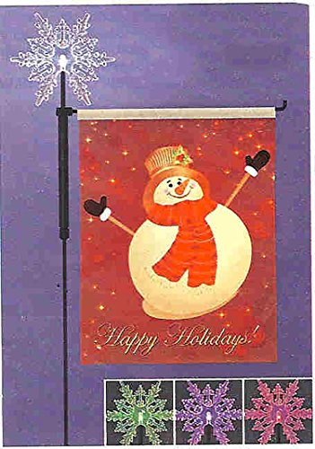 27' Snowman Holiday Garden Flag With Lighted Color Changing Snow Flake Stake
