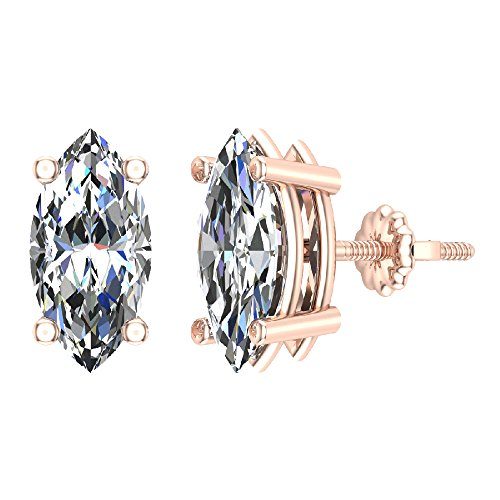 4.00 ct tw G SI Diamond Stud Earrings Marquise Cut Earth-mined 14K Rose Gold Screw Back
