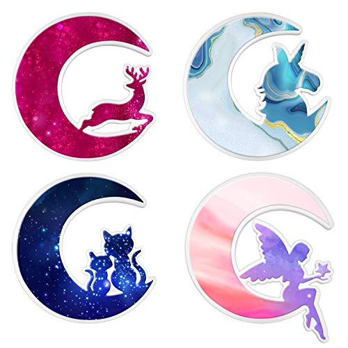4 Packs Crescents Moon Mold, Epoxy Resin Molds, Silicone Epoxy Casting Molds for Making Moon Fairy, Moon Cat, Moon Deer, Moon Unicorn, Halloween Christmas Birthday Party Decorations