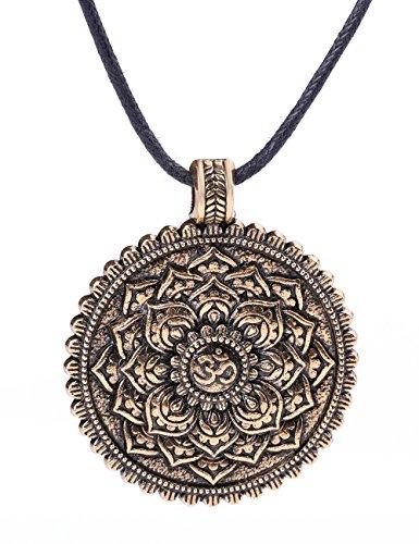 My Shape Modische indische Yoga-Halskette für Damen und Herren, Anhänger, Halskette, Om-Yoga-Chakra-Amulett, Nicht zutreffend, goldfarben antik-optik, M