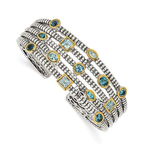 Sterling Silber Topas Blau 14ct JewelryWeb Armreif