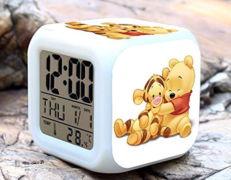 Cartoon Winnie The Pooh Digital LED 7 Changed Colorful Light Alarm Clocks Thermometer Night Electronic Kids Toys Best Gift For Children Style 12
