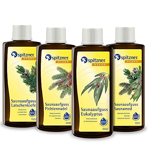 Spitzner Saunaaufguss-Set Freier Atem 4 x 190 ml – Gesundheitsaufgüsse mit aromatischem Saunaduft zur Befreiung der Atemwege mit Eukalyptus, Fichtennadel, Latschenkiefer und Saunamed
