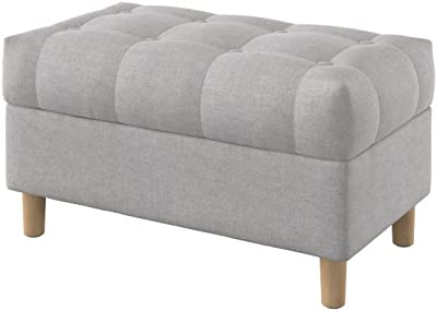 Amazing Amazon Com Homepop Linen Button Tufted Storage Bench With Short Links Chair Design For Home Short Linksinfo