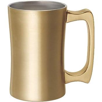 ドウシシャ ビールジョッキ 420ml 飲みごろジョッキ 真空断熱 ゴールド