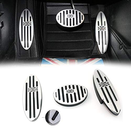Sdautous Black/Gray Union Jack at Auto Aluminum Pedal Cover Compatible with 2010-2018 Mini Cooper Countryman, Clubman, Roadster, Hatch, Paceman