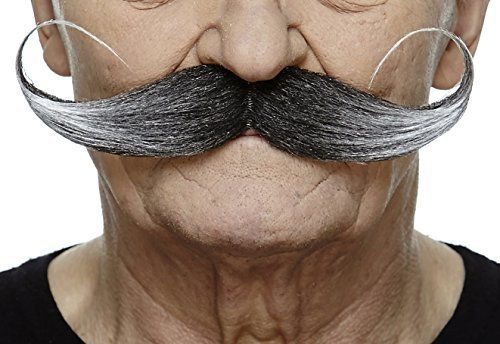 Mustaches Self Adhesive Fake Mustache, Novelty, Capt' Hook False Facial Hair, Costume Accessory for Adults, Salt and Pepper Color