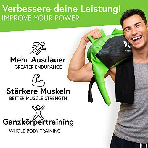 POWRX Bulgarien Gewichts Bag I 5 kg 8 kg 12 kg 17 kg 22 kg I Kunstleder Sandsack für Functional Fitness (12 kg Schwarz/Hellgrün) - 5