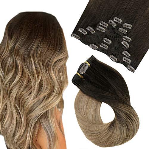 Easyouth Extension Cheveux Clips Balayage Couleur Darkest Brown Mix Medium Blonde et Ash Blonde Remy Clip in Hair Vrais Cheveux Humains 7 pièces 22 pouces 100g