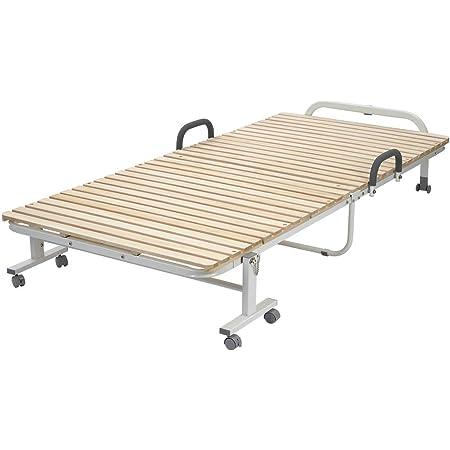 OSJ ベッド 折りたたみ すのこ 折りたたみすのこベッド ベッドフレーム 省スペース 収納 組立かんたん 高床 約幅98.5×奥行208×高さ39cm シングル 1人暮らし 一年保証