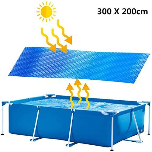 riou Solarplane Pool Rechteckig Poolabdeckung Solarfolie Poolplane Abdeckung Solarabdeckungen Dick Stabil Pool Cover Folie Plane (300 * 200cm)