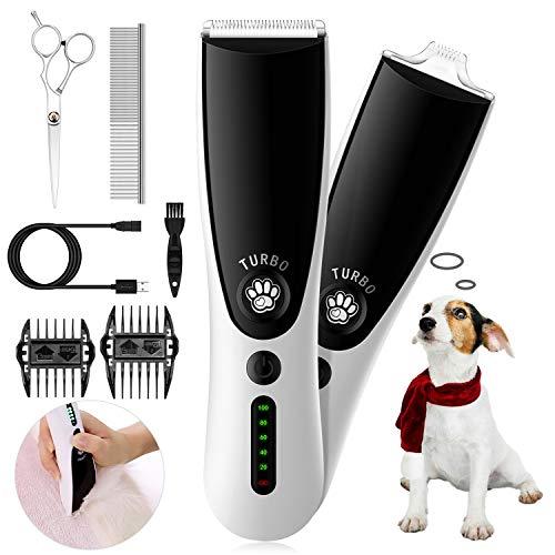 HOOMYA Cortapelos para Perros, 2 IN 1 Profesionales Máquina Cortapelo Set para Mascotas Gatos con Cuchillas Grandes y Pequeñas Usar en Todo el Cuerpo, 2 Velocidades Silencioso USB Recargable
