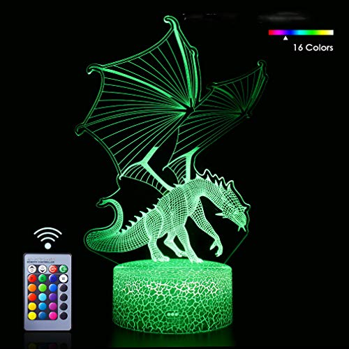 Dragon 3D Nachtlicht, Illusionslampe, Drachengeschenke mit 16 einzigartigen Farben und Fernbedienungslampen für Kinder, Geburtstagsgeschenke für Jungen Mädchen Kinder Baby Weihnachten (Dinosaur Fly2)