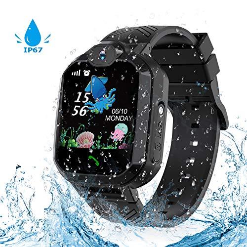 Kinderen Smart Horloge Waterdichte Telefoon, Jaybest IP67 LBS Tracker Smartwatch voor Kinderen SOS Sim-kaart met Camera, Alarm, Games Twee-weg Oproepen Anti-verloren Touch Screen Mobiele Telefoon voor Verjaardagscadeaus, Zwart