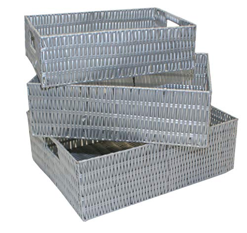 Set of 3 Resin Woven Storage Shallow Baskets with Insert Handles (Grey) HE25