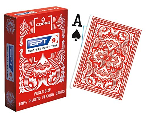 Copag European Poker Tour (EPT) 100% Plastic Playing Cards Poker Size Jumbo Index (Red Back)