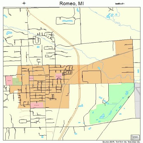 Large Street & Road Map of Romeo, Michigan MI - Printed poster size wall atlas of your home town