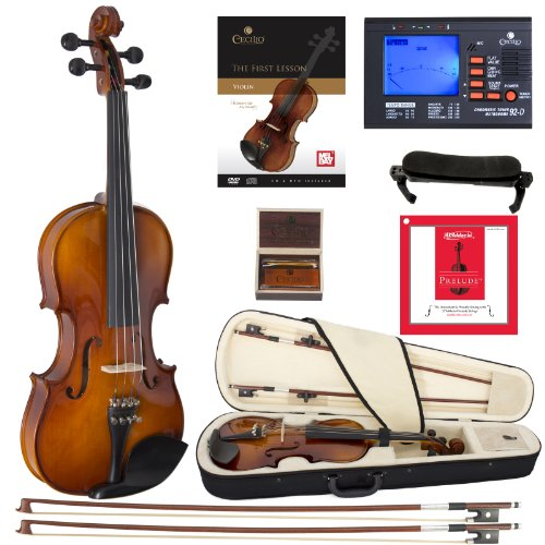 Cecilio CVN-320L Solidwood Ebony Fitted LEFT-HANDED Violin with D'Addario Prelude Strings (Size 3/4, Varnish)