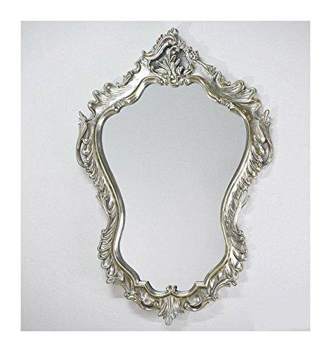 Espejo de pared de 90 x 60 cm, estilo barroco, ovalado, vintage, color plateado, estilo barroco