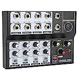 Mezclador de Audio de Estudio de 8 Canales, Consola de Mezcla de Sonido portátil, Mezclador de DJ Mezclador de Sonido de Audio de Estudio en Vivo, Mini Amplificador de micrófono para Karaoke, Fiesta