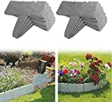 Hoimlm Beeteinfassungen für den Garten, aus Kunststoff, Steinoptik, Steinoptik, grau, Rasenkanten in Steinoptik, für Gartenzaun und Rasen, 20 Stück