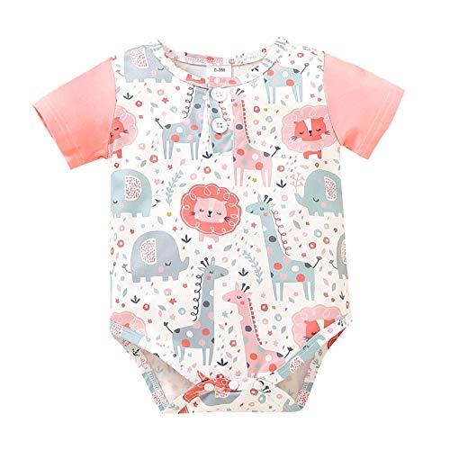 DaMohony Mameluco de manga corta para bebé con dibujos animados y animales, para bebés de 0 a 12 meses