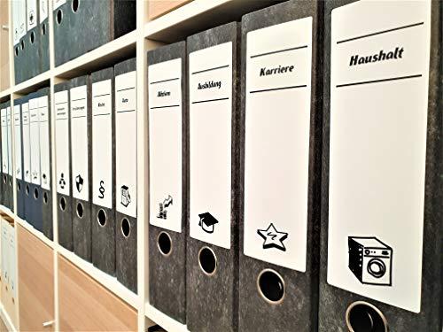 30x selbstklebende, bedruckte Etiketten für Ihre Ordner mit Symbolen 196x62mm
