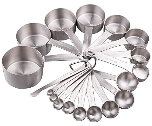 Lucky Plus Stainless Steel Measuring Cups and Spoons Set 18/8(304) Steel Material Heavy Duty 8 Measuring cups and 9 Measuring Spoons