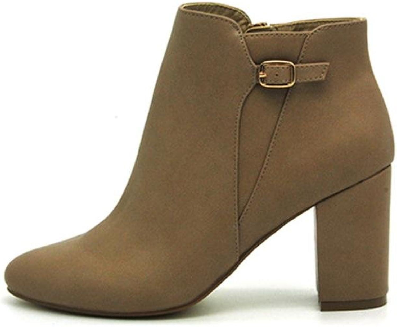 QPYC Damen Frauen Spitz Kurze Stiefel Raue Ferse Stiefel PU-Satz Fuß Komfortable Seitliche Reißverschluss Weibliche Bare Stiefel Schwarz , braun , 40  | Creative  | Zarte  | München Online Shop