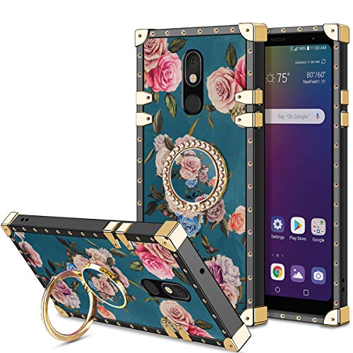 HoneyAKE Case for LG Stylo 5 Case, Stylo 5 Phone Case with 360 Degree Rotation Ring Stand Holder Floral Soft TPU Reinforced Corner Shock Absorbing Protection for LG Stylo 5 Peony