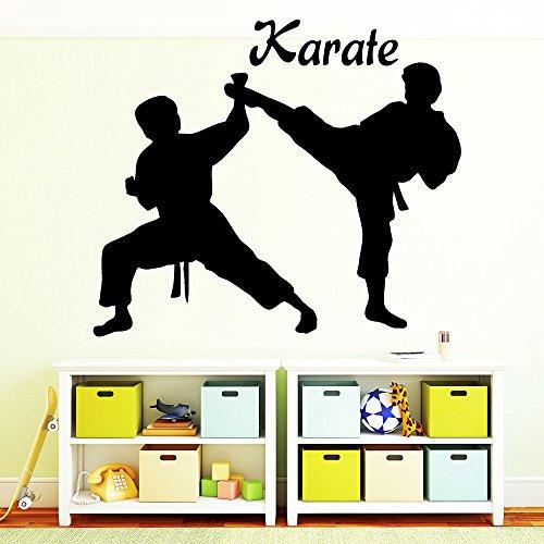 """Wandtattoo-Loft """"Zwei Karate Kämpfer mit Schriftzug: Karate"""" - Wandtattoo / 49 Farben / 4 Größen/schwarz / 80 x 92 cm"""