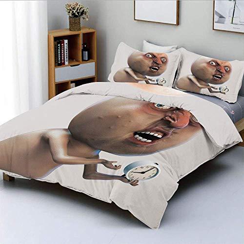 Juego de funda nórdica, Why You No Wake Me Up Internet Meme con rostro quejándose dormido e imagen del reloj Juego de cama decorativo de 3 piezas con 2 fundas de almohada, color bronceado, el mejor re