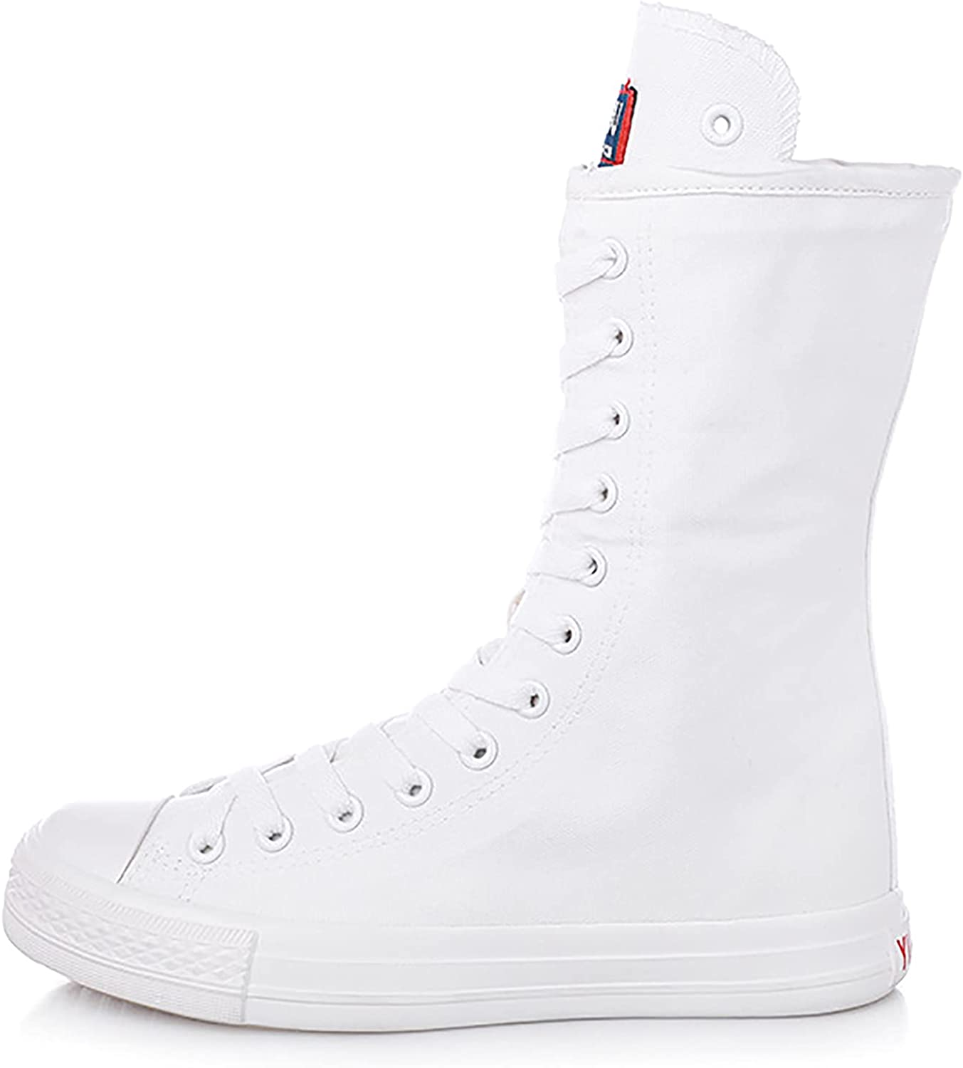 Womens Fashion Canvas Boots Mid Calf Lace Up Sneakers Causal School Shoes