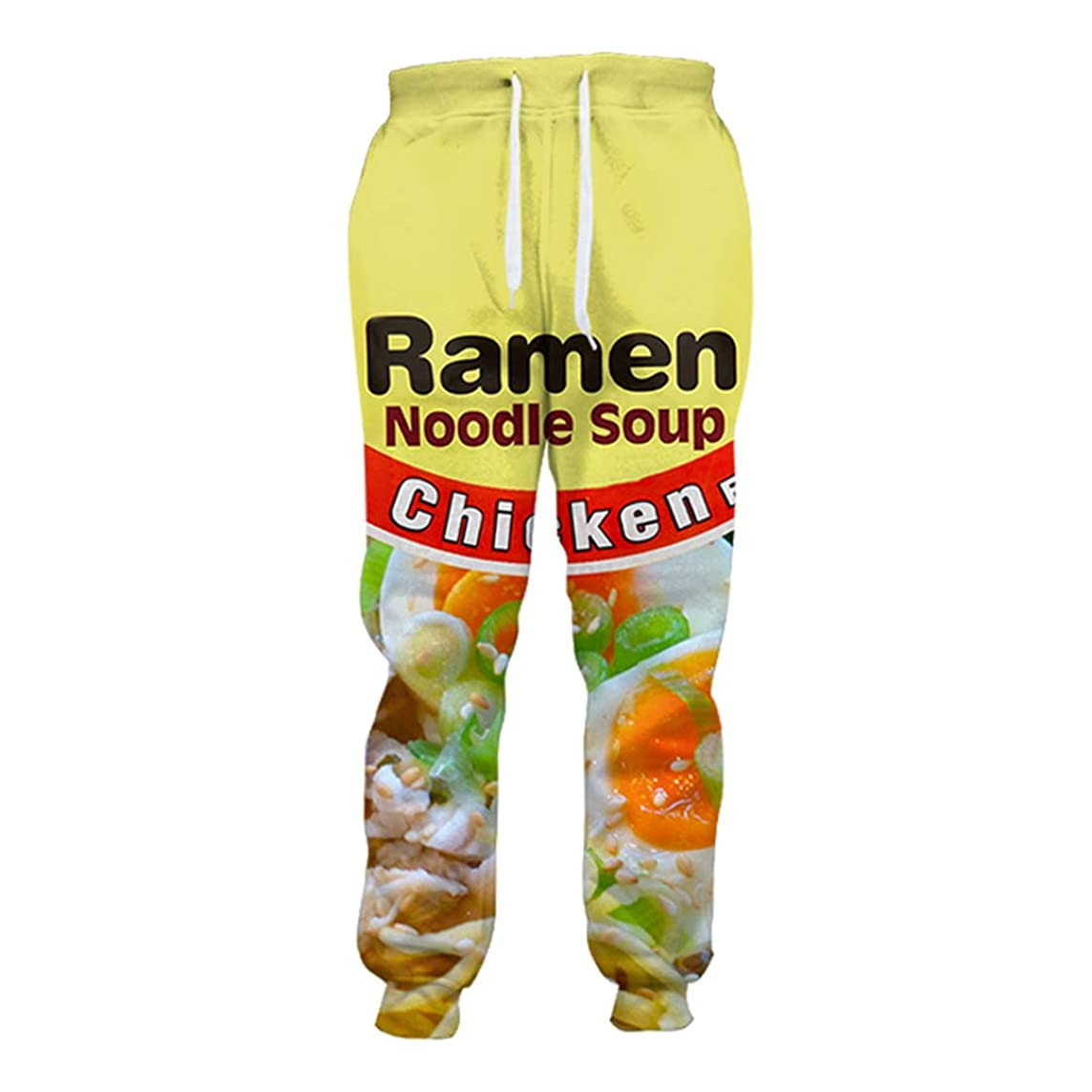 HaoTiam 3D Printed Chicken Ramen Joggers Salty Japanese Jogger Sweatpants Men/Women Full Length Hip-Hop Trousers