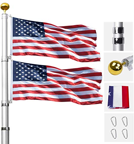 Klvied 20FT Telescopic Flag Pole, Tangle Free Flagpole Kit Fly 2 Flags, Heavy Duty Extra Thick Aluminum Flag Pole with 3x5 America Flag, Golden Ball Top for Commercial, Residential, Outdoor