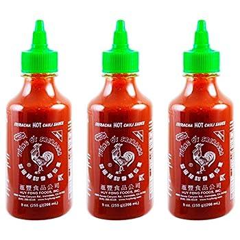 Huy Fong Sriracha Hot Chili Sauce 9 Ounce Bottle ,spice,chili,sriracha 3 Bottles